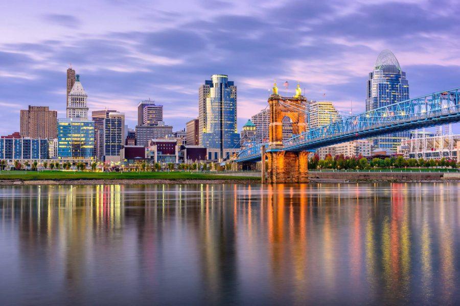 Cincinnati Skyline at Dusk with River