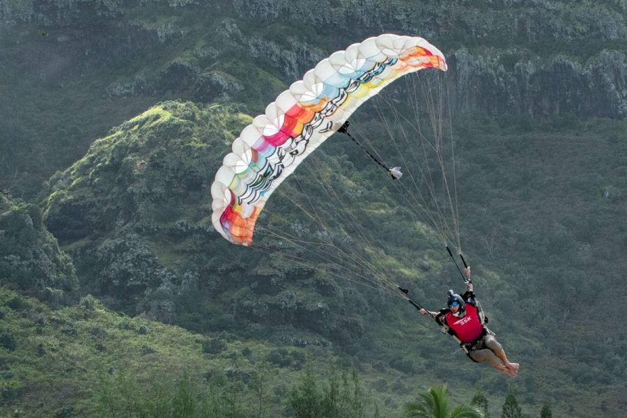 Male skydiver making a landing.
