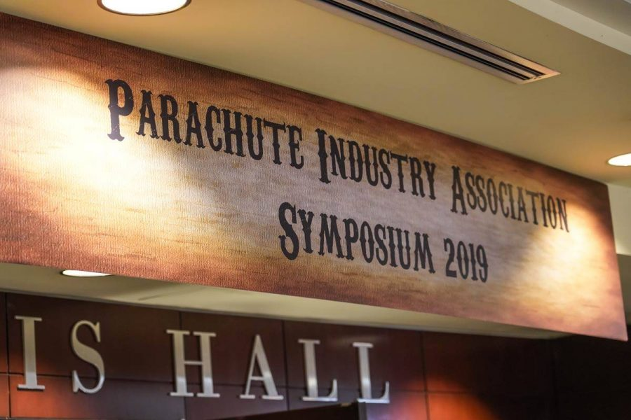 Sign for Parachute Industry Association Symposium 2019.