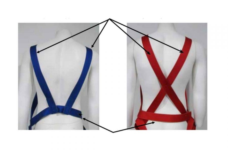 Red and Blue skydiving straps on mannequin.
