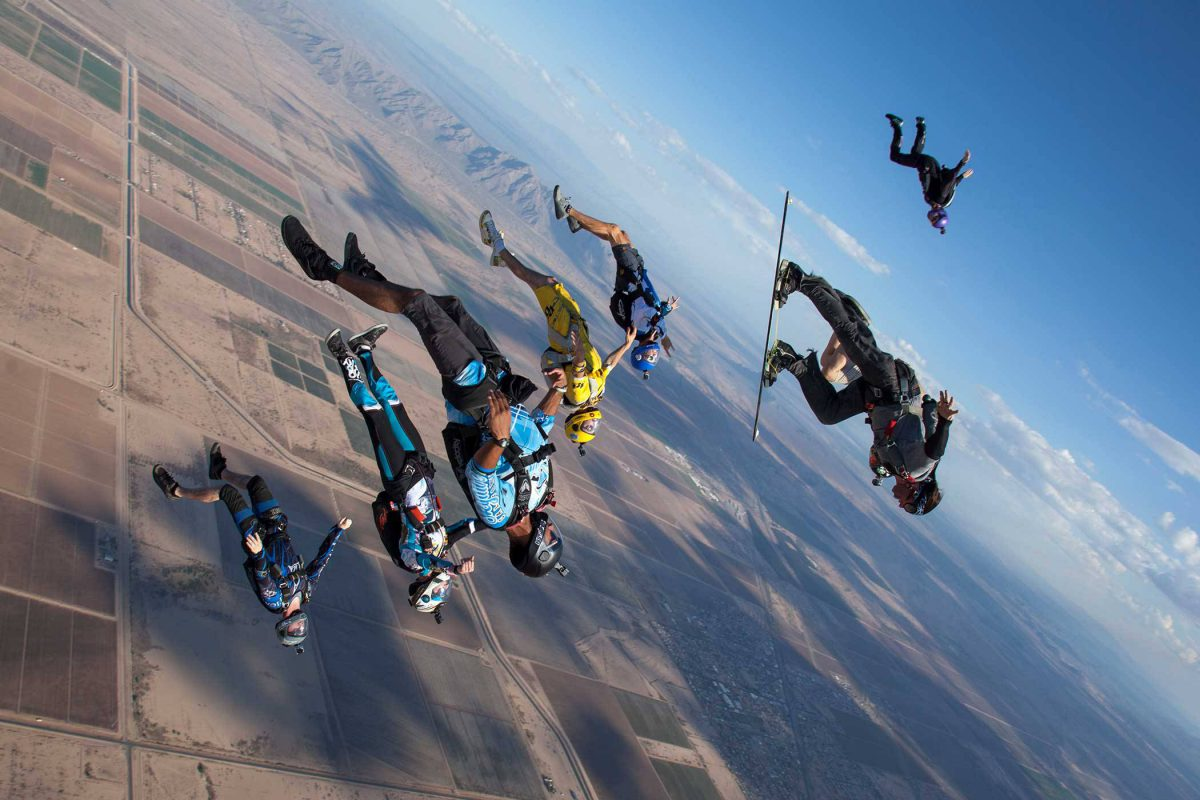 Group of experienced skydivers in free fall.