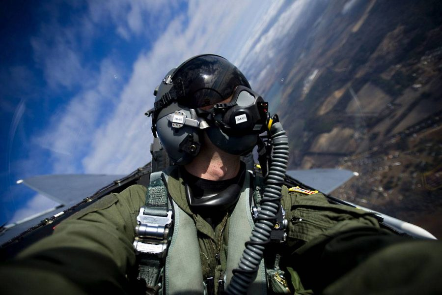 United States Air Force pilot in a plane.